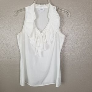 Loft White Ruffle Cotton Top XS